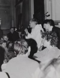 Světluše Košíčková at Taizé gathering in Katowice, Poland, in 1981; Brother Roger addressing the pilgrims