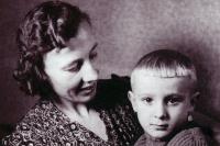 Milan Báchorek with his mother Božena in Staříč in 1945