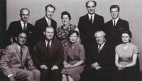 Milan Báchorek (second on right above) with the teacher´s ensemble of the music school in Frenštát pod Radhoštěm / wife Anna (first right below) in 1966