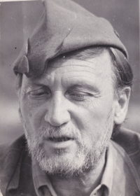 Sergej Machonin (*1918) as a mushroom picker with an overgrown stubble (1970s). This is how many citizen of Dolní Město remember him.