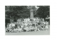 A group photo of participants in a Havlíček Youth march to Havlíčkov Borová on July 29, 1989, Tomáš Holenda is in the top row all the way to the left