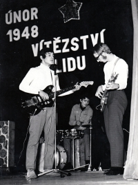 Pavel Bártek (on the left) with Paradox band / 70s