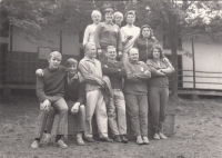 Leden nad Sázavu summer camp; 1967 - 1971; Mr Pešta third from the right, first row; Mrs Pešta second from the right, second row