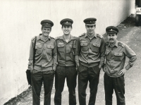 Josef Baxa (second from the left) during his compulsory military service, 1983