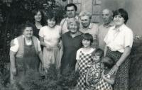 Lenka Kocourová with her family in 1985. Lenka quite right, Lenka´s mum quite left, second right her cousin, Zora Rysová.