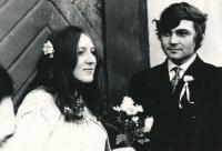 Lenka Kocourová with husband in 1971
