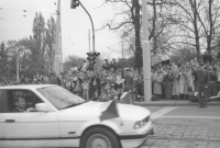 President Václav Havel arriving in a convey during the visit of Pope John Paul II in Czechoslovakia, April 1990