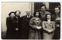 Jaroslava Suchá (in the middle) during her husband´s (tall man on her left) graduation; her mother is standing as the first from the left