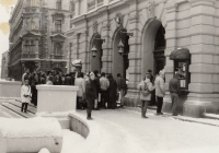 Public Security checking visitors in front of the theatre entry, November 1989