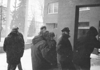 Representatives of Jihlava Civic Forum on their way to a District Committee of the Communist Party's meeting, where they presented their demands