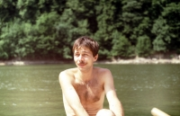 Michal Šaman at Vranovská dam during his studies, summer of 1987 or 1988