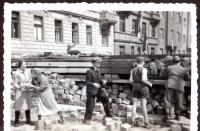 Taking a barricade apart. 1945