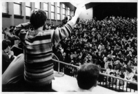 Slovak University of Technology in Bratislava during the revolution in 1989 - Igor in front
