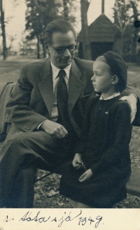 Charlotta with her father Emanuel Poche in 1949; photo (probably) by Josef Sudek