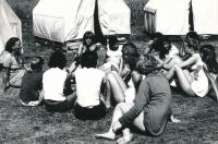 Summer camp in Koloděje, Dagmar Housková, first from left. 1970