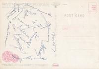 pohlednice tokijského stadionu pro OH 1964, zadní podepsaná strana