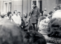 M.Trégl speaks to citizens as a spokesman for the Strakonice Civic Forum during the Velvet Revolution in 1989