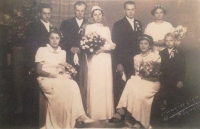 Wedding of the oldest sister Helena. Richard Drábek (right) was six years old.