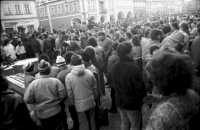 A demonstration on the square in Domažlice in the week after November 17, 1989