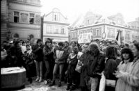 Young people at a gathering in Domažlice square in November 1989