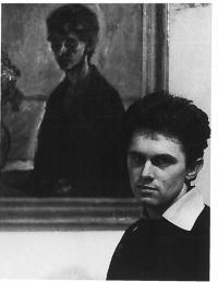 Milan Dobeš in front of his painting