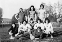 In Štěnovice, football club FC Pivo 1979, Ivo Hucl sitting on the ground first from the left