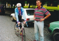 Jiří Daler as a trainer of junior level during the race in Teresin in 1990s