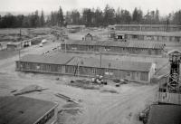 Výstavba povrchového areálu Dolu R I (KHB), s dřevěnou těžní věží šurfu č.13