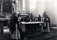 Christian confirmation of M.Trégl, Father Herman Frič (third from the left)