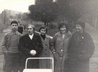 From the right Dana´s mother, her aunt Dagmar, Dana, her grandmother Rela, her brother Ivan, Prague Letná 1961