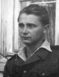 Karel Pexidr in an Auxiliary Technical Battalions (PTP) uniform; 1952