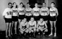 Basketball team Sokol Brno 1, Milan Fráňa second from the right, standing