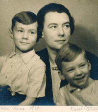 Vladimír Grégr (on the left) with his mother, Milada, and his brother, Eda