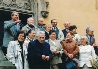 The King George of Poděbrady Central Bohemian College (Středočeská kolej krále Jiřího z Poděbrad) student reunion. Vladimír Grégr fourth from the left in the last row