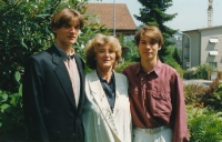 His wife Jana with sons Eduard (on the left) and Michael; Kriens-Luzern, 1995