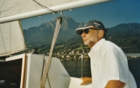 Vladimír Grégr on his yacht on a lake near Luzern; 2005