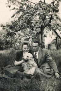 With her fiancee, Otakar Čeněk Trunc, in 1949