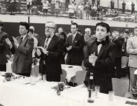 Visit to the national meeting of the Austrian FPÖ, early 1990s, M. Fleischman on the right, Karel Štindl on the left