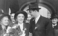 His parents, Jiřina and Milan Fráňa, a wedding photo from 1946