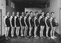 Czechoslovak basketball team before seeing president Edvard Beneš, Milan Fráňa second from the left