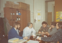 Negotiations of a democratic initiative in the early 1990s (K. Štindl in a white shirt)