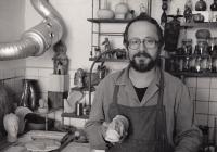 Fedor Gabčan in his atelier, 1990's