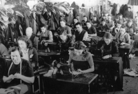 Sewing workshop in the Slovak concentration camp in Nováky, around 1943