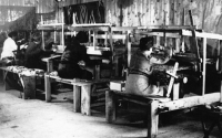 Weaving workshop in the Slovak work camp for Jews in Nováky, around 1943