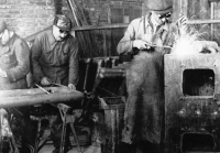 Metalworking workshop in the Slovak concentration camp in Nováky, around 1943