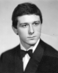 Vladimír Šiler on the photograph from graduation table of the secondary school in Znojmo in 1968