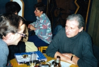 Vladimír Šiler on right with his friend Jiří Plotzer in a café and gallery Yellow Submarine in Znojmo at the end of 1990s