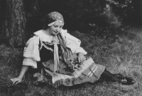 His mother Marie dressed in a mountain folk costume. Sázava, 1938. She was 18 years old then.