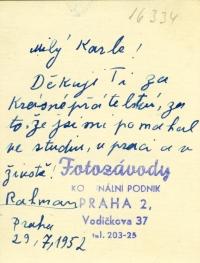 A letter to a friend Karel Jech, 1953