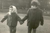 Mína Norlin with sister Hiva, Prague, late 1950s